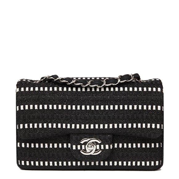 Chanel Black & White Woven Fabric Rectangular Mini Flap Bag