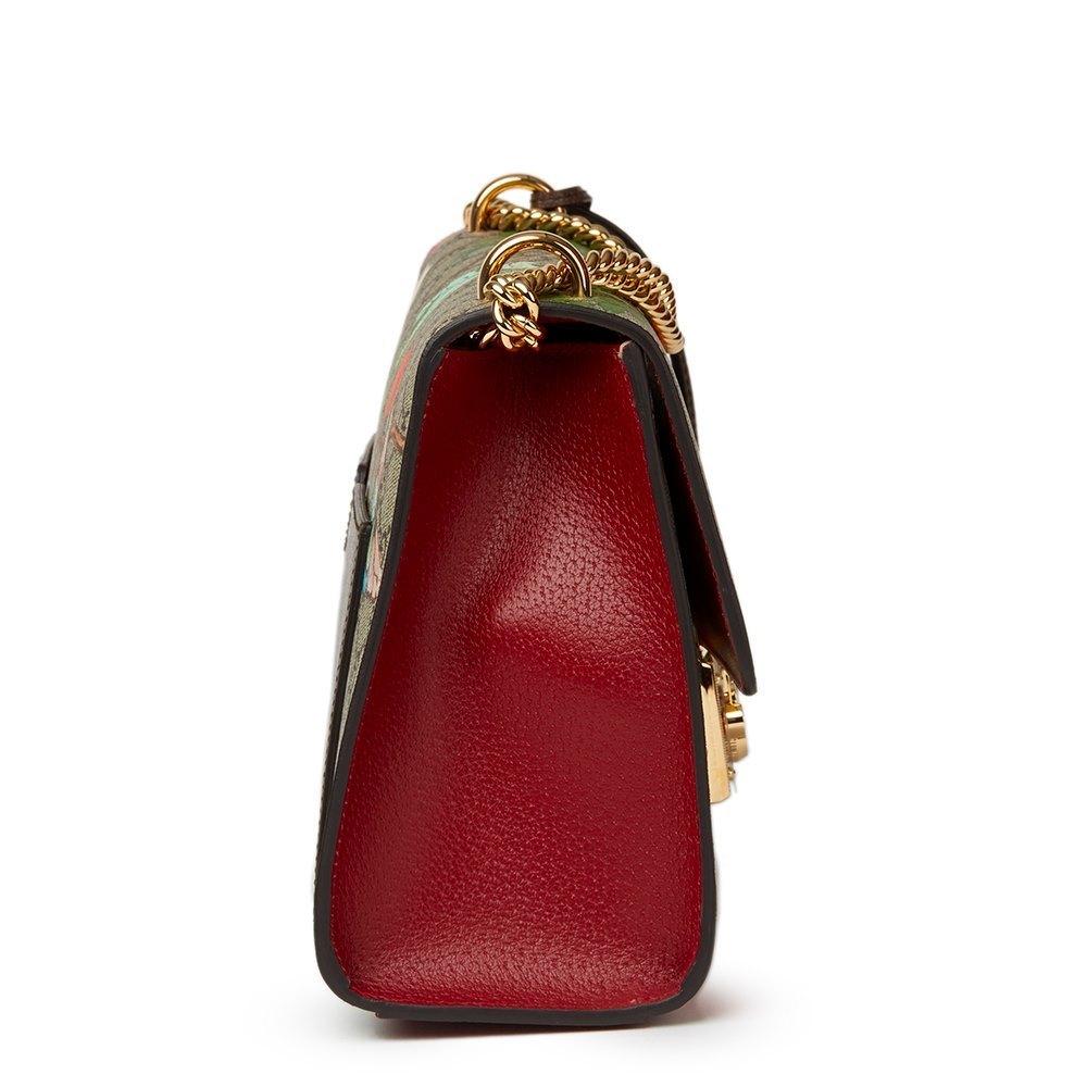 06cd05f7c00 Gucci Tian GG Supreme Canvas   Red Calfskin Leather Padlock Shoulder Bag