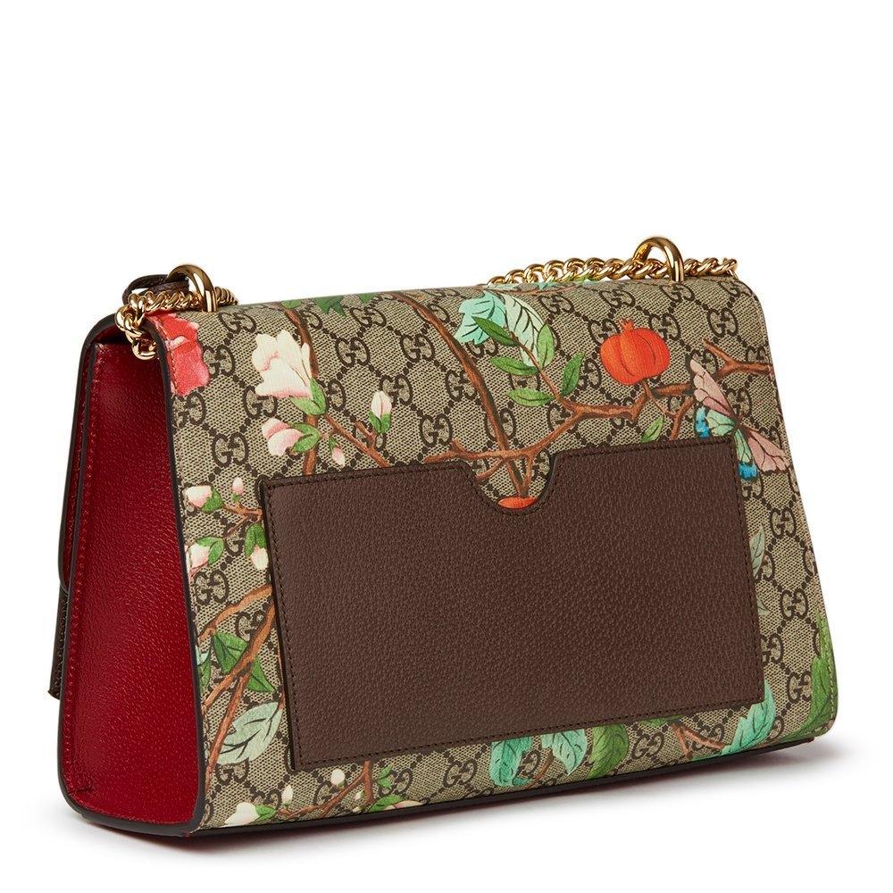c09e4ebf9 Gucci Tian GG Supreme Canvas & Red Calfskin Leather Padlock Shoulder Bag