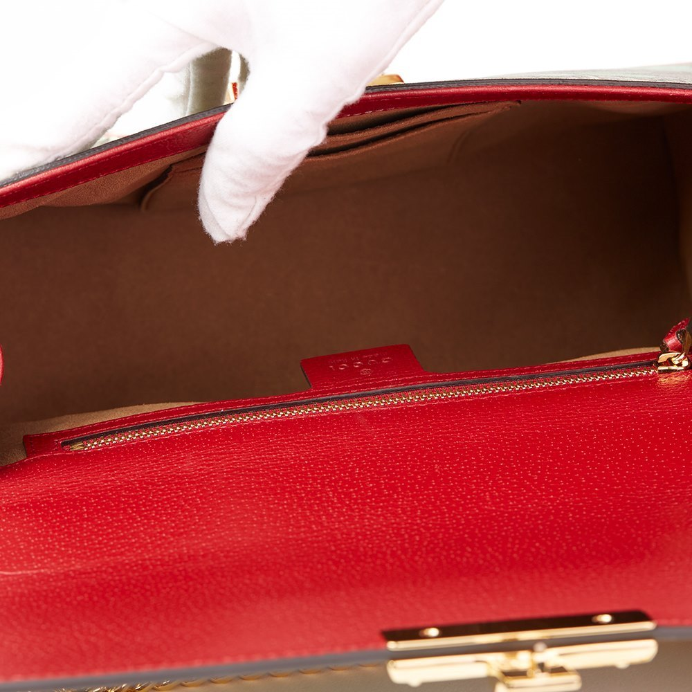 c4db0a865c Tian GG Supreme Canvas & Red Calfskin Leather Padlock Shoulder Bag