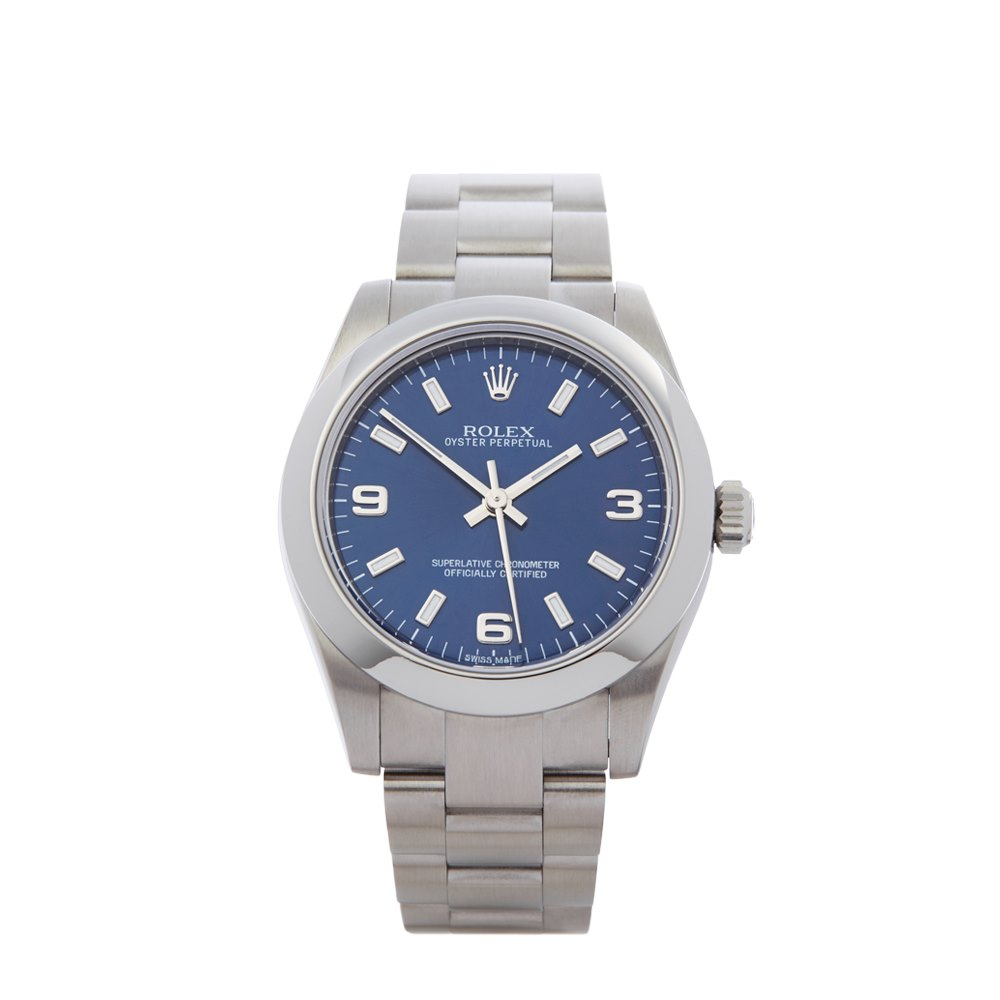 watches rolex steel bracelet dial blue perpetual watch stainless mens men s oyster automatic blaso