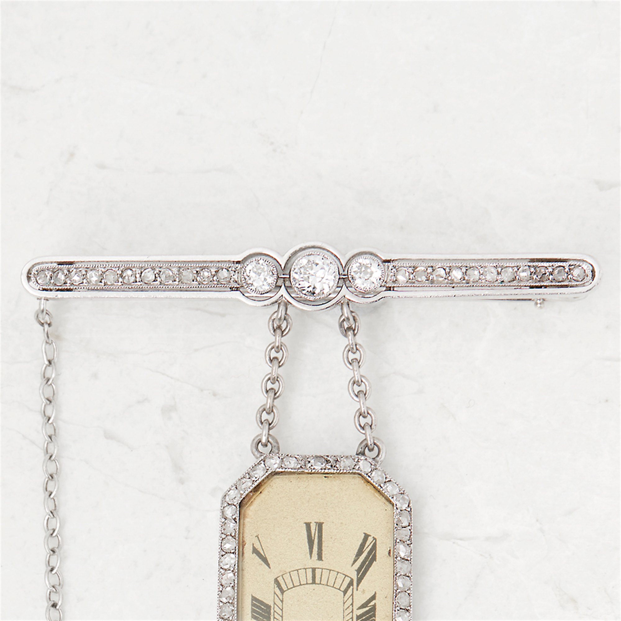 Cartier Platinum Diamond Set Rare Vintage Brooch Watch