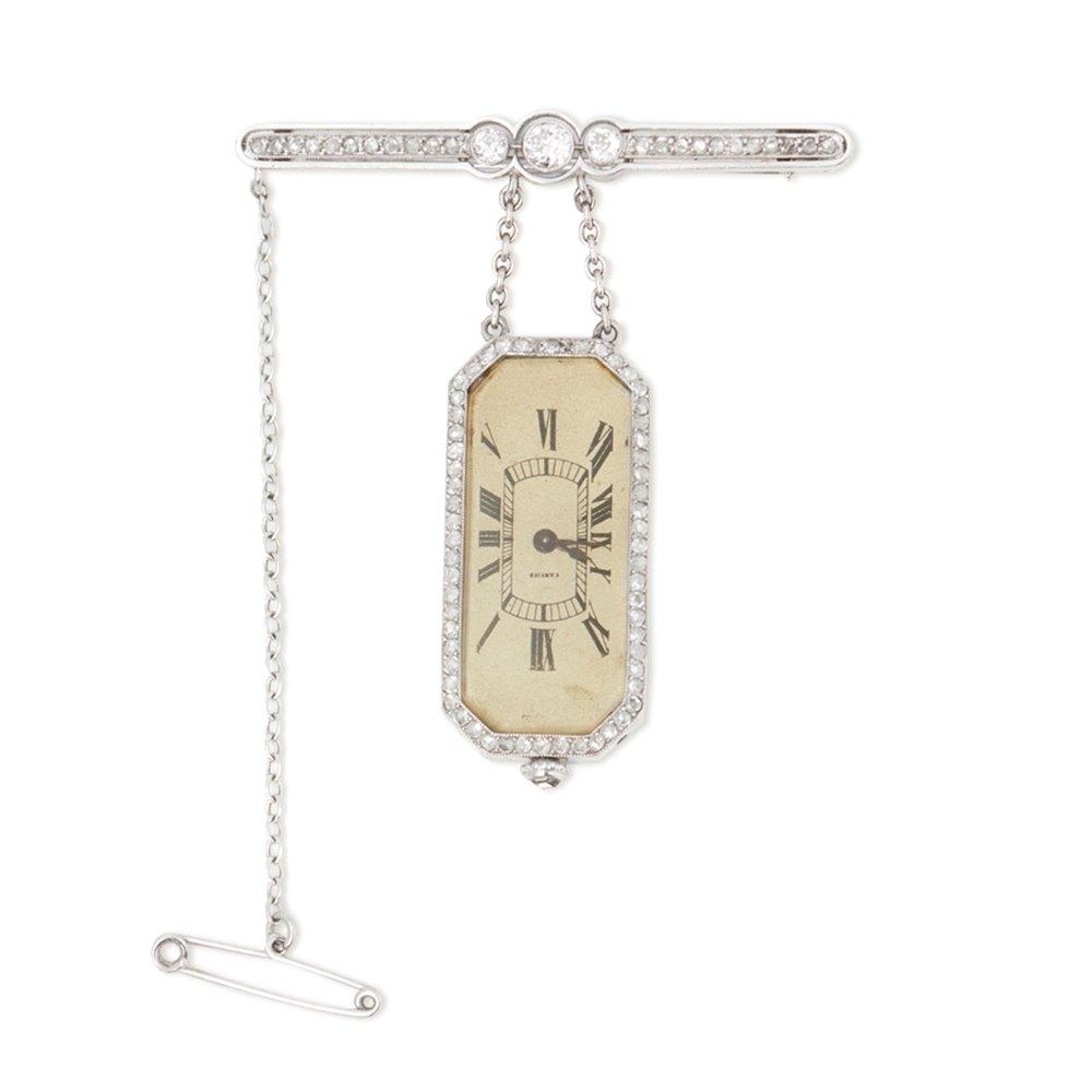 Cartier Platinum Diamond Set Rare Vintage Brooch Watch