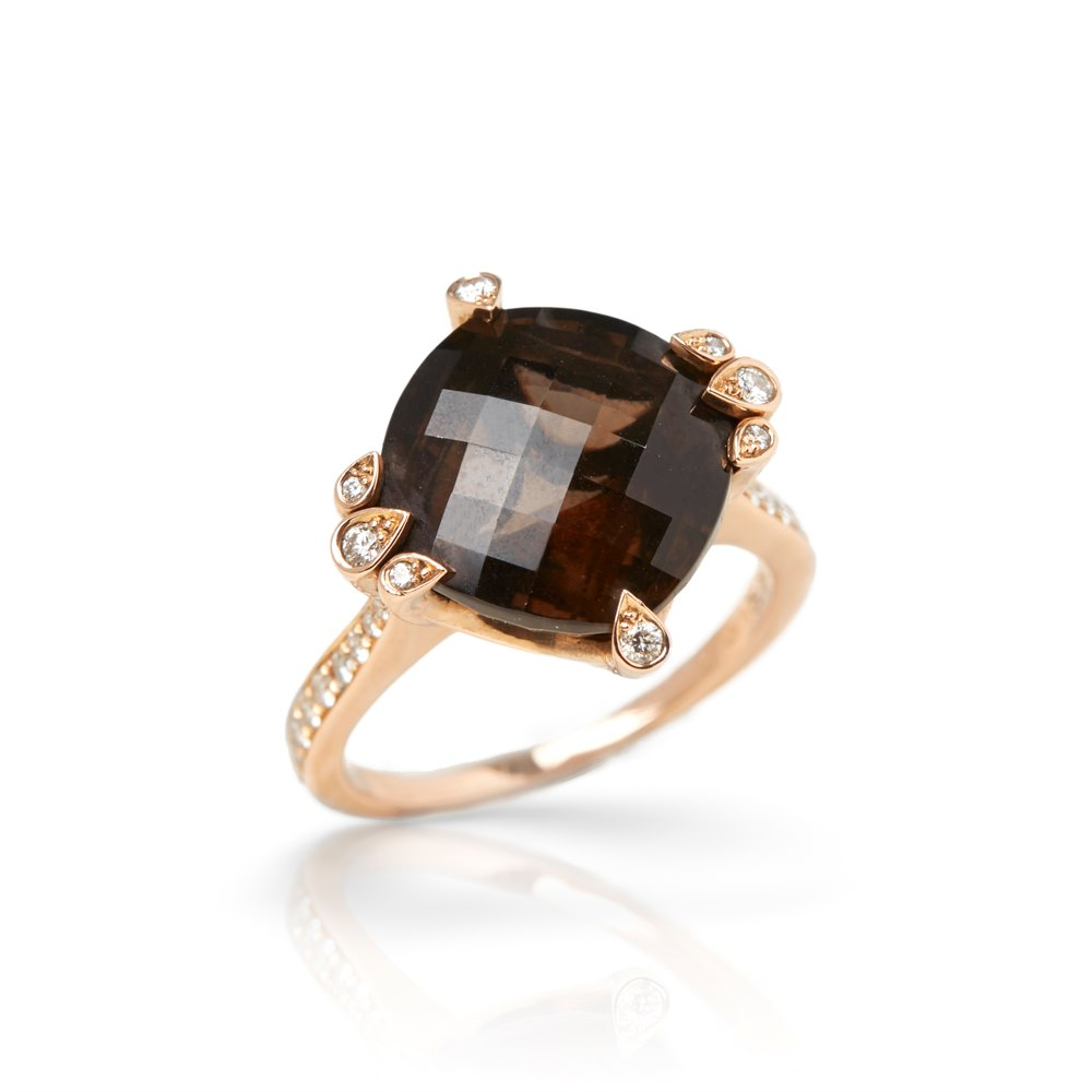 Cartier 18k Rose Gold Smoky Quartz & Diamond Cocktail Lotus Ring