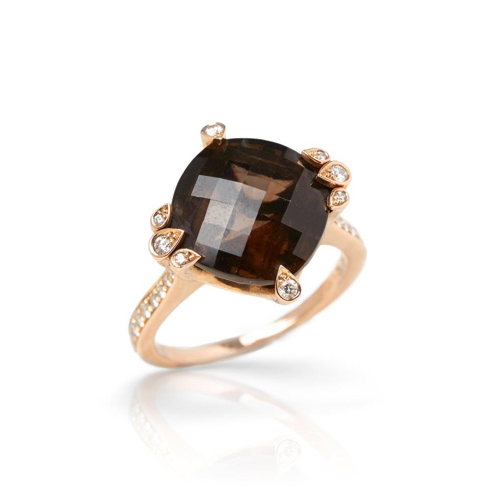 Cartier 18k Rose Gold Smoky Quartz & Diamond Cocktail Lotus Ring