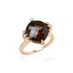 Cartier 18k Rose Gold Smoky Quartz & Diamond Lotus Ring