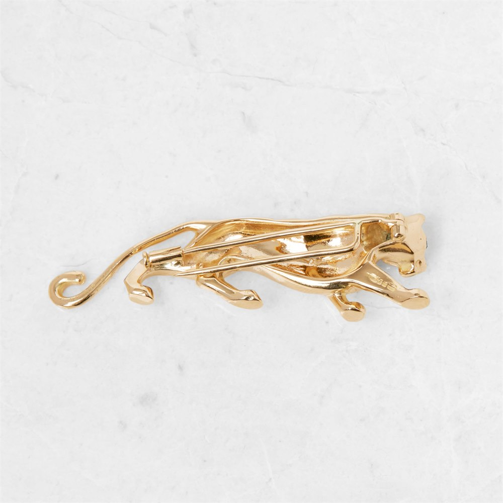 Cartier 18k Yellow Gold Emerald Panthère Brooch