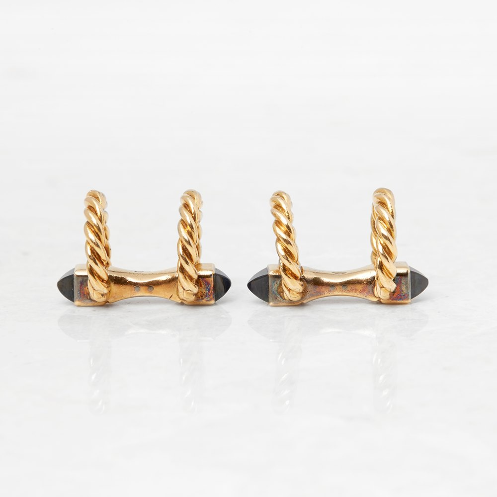Cartier 18k Yellow Gold Sapphire Vintage Twist Design Cufflinks
