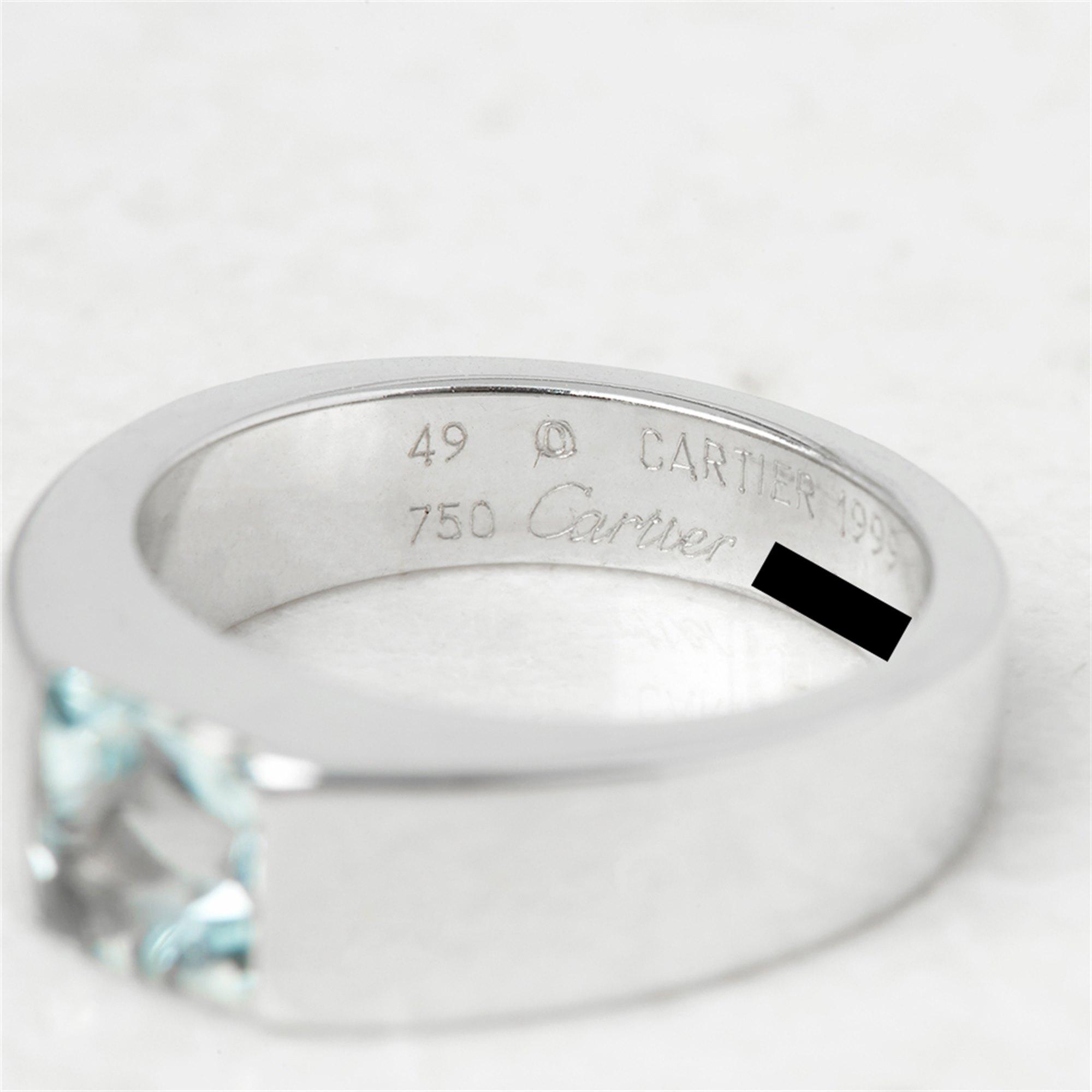 Cartier 18k White Gold Aquamarine Tank Ring