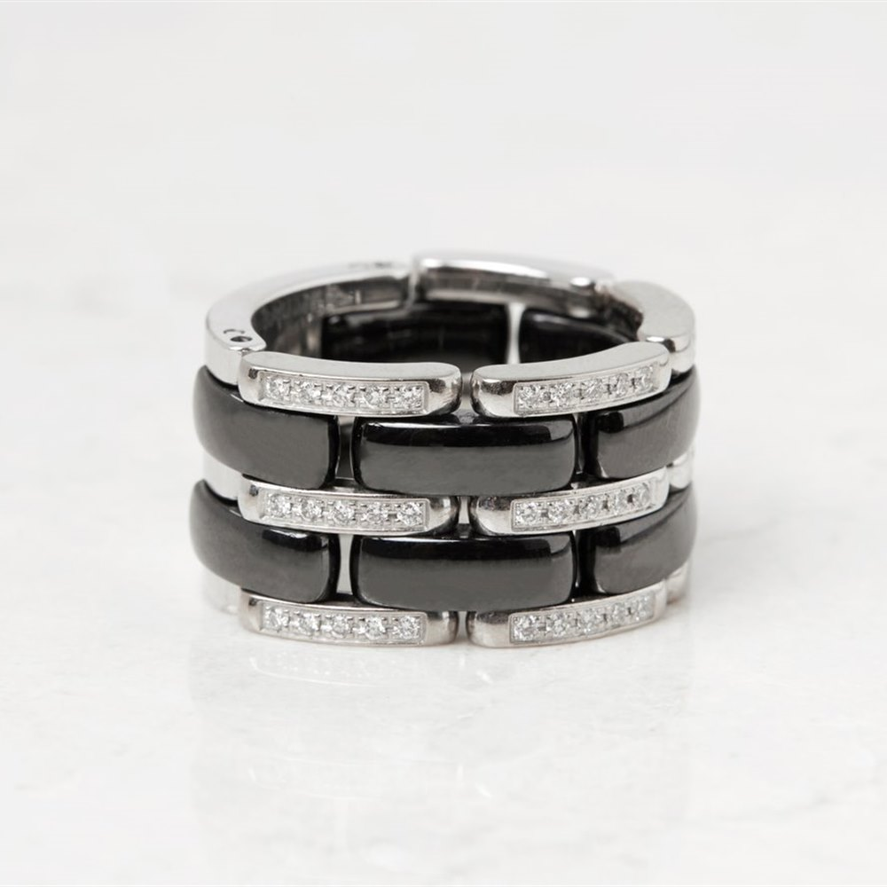 Chanel 18k White Gold Black Ceramic Diamond Ultra Ring