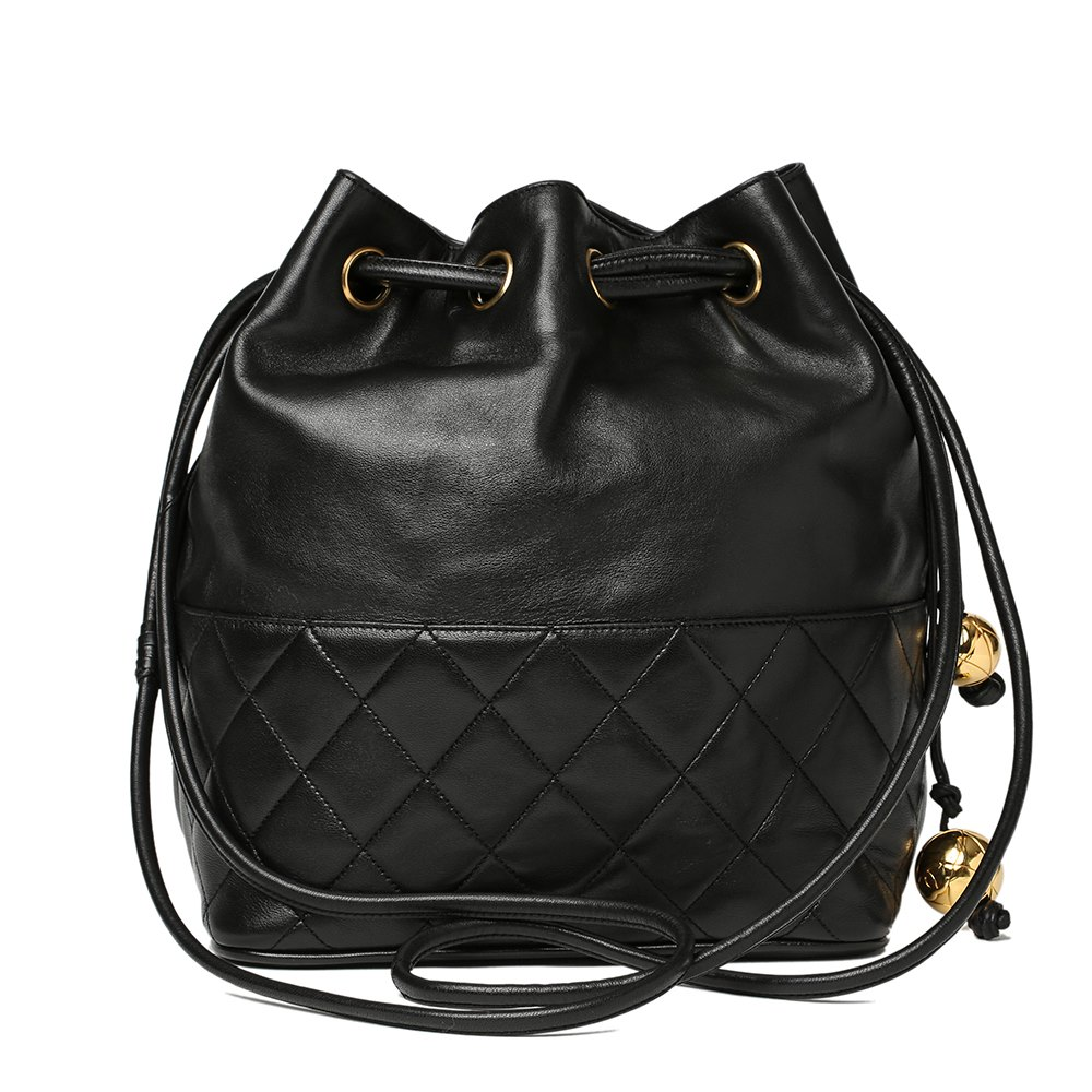 63b96d07723b9 Chanel Black Quilted Lambskin Vintage Timeless Bucket Bag