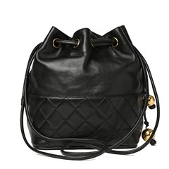 Chanel Black Quilted Lambskin Vintage Timeless Bucket Bag