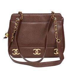 Chanel Chocolate Brown Caviar Leather Vintage Logo Trim Shoulder Bag
