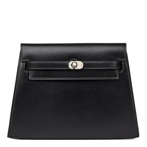 Hermès Black Box Calf Leather Vintage Crutch Clutch