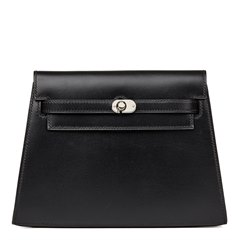 Hermès Black Box Calf Leather Crutch Clutch