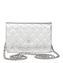Chanel Silver Quilted Metallic Lambskin Wallet-On-Chain WOC