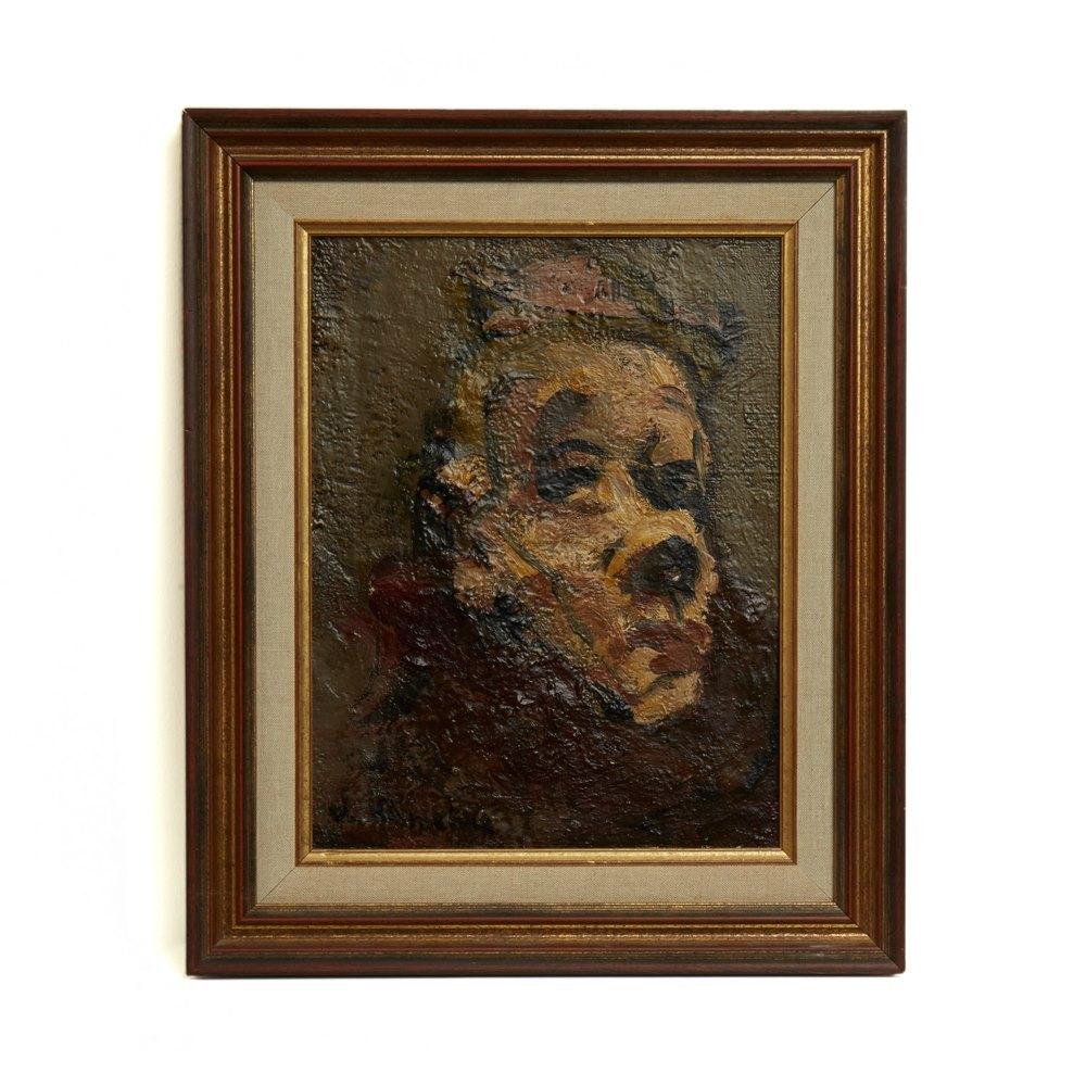 CLOWN OIL ON CANVAS BY VASSYL KHMELUK 1903-1986 Probably mid 20th Century