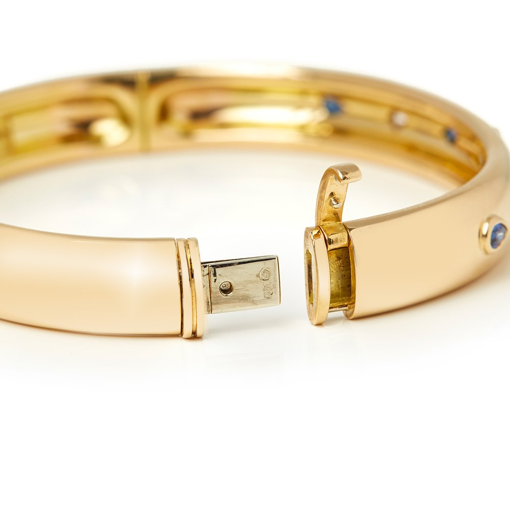 Cartier 18k Yellow Gold Sapphire & Diamond Cuff Bracelet