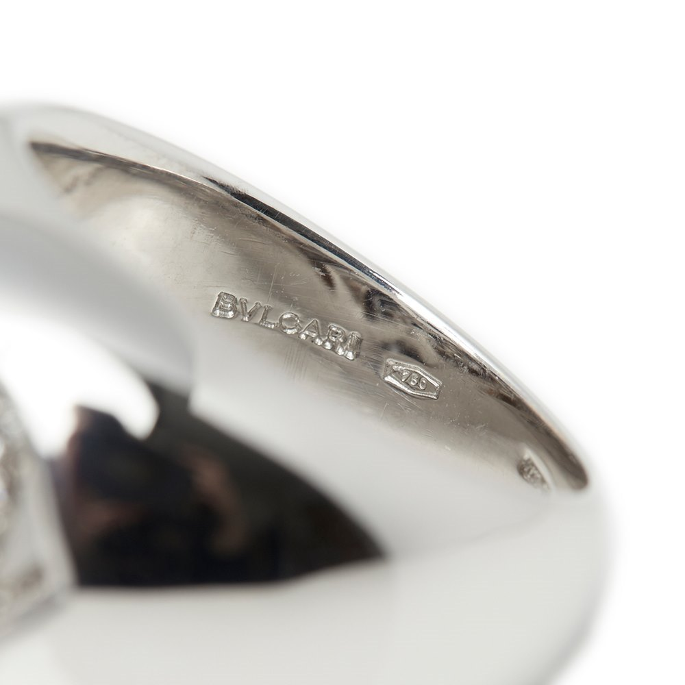 Bulgari 18k White Gold Diamond Doppio Cuore Ring