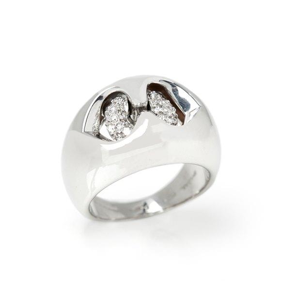 Bulgari 18k White Gold Diamond Doppio Cuore Dome Ring