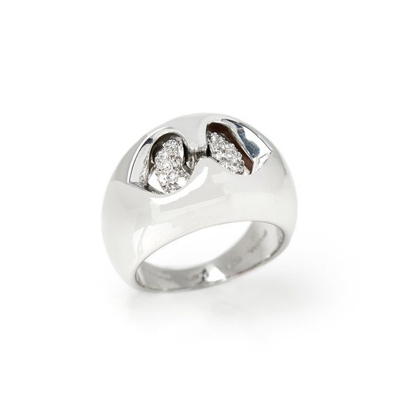 Bulgari 18k White Gold Diamond Doppio Cuore Dome Ring
