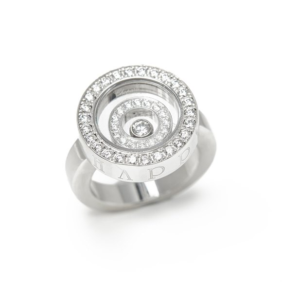 Chopard 18k White Gold Diamond Happy Spirit Ring