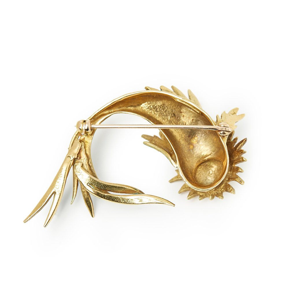Cartier 18k Yellow Gold Enamel Vintage Fish Design Brooch