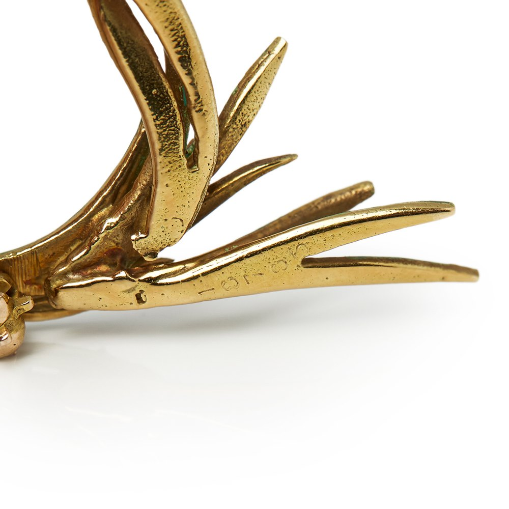 Cartier 18k Yellow Gold Enamel Fish Pin Brooch