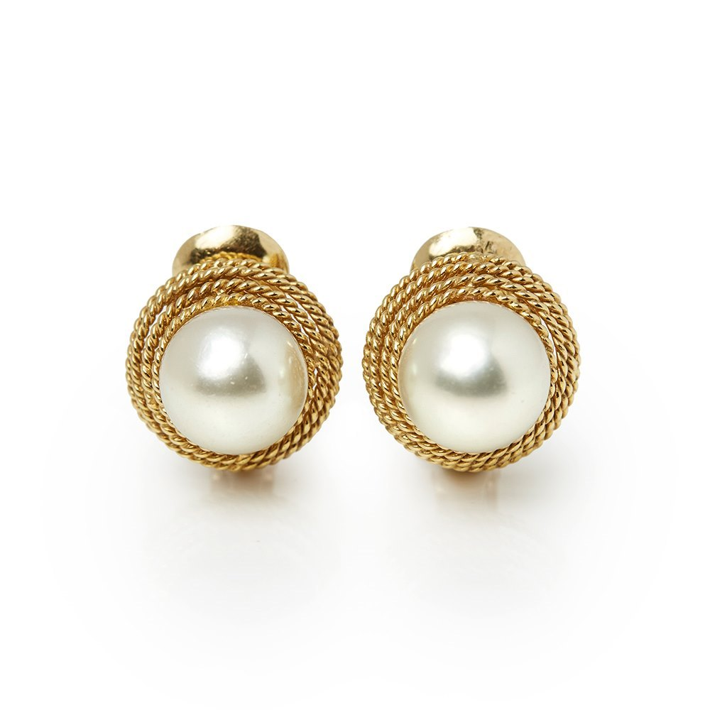 David Webb 18k Yellow Gold Pearl Earrings