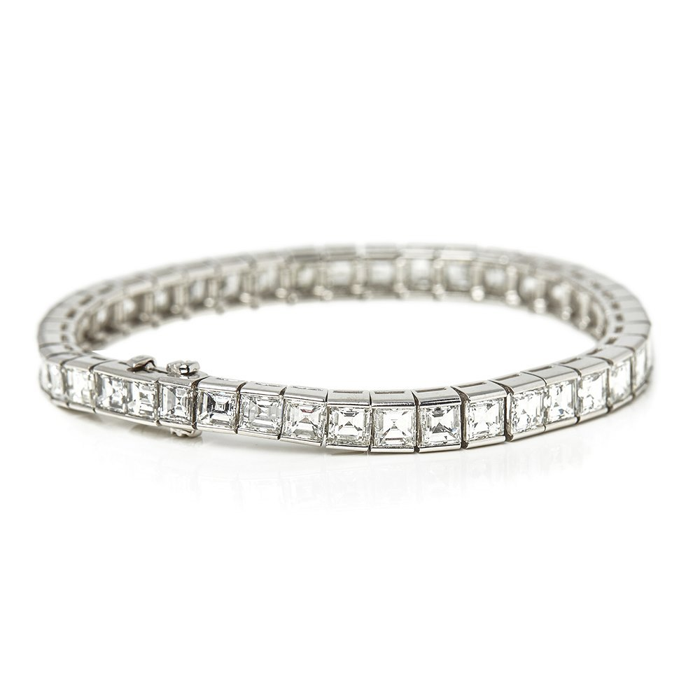 Cartier Platinum Emerald Cut Diamond Riviere Tennis Bracelet