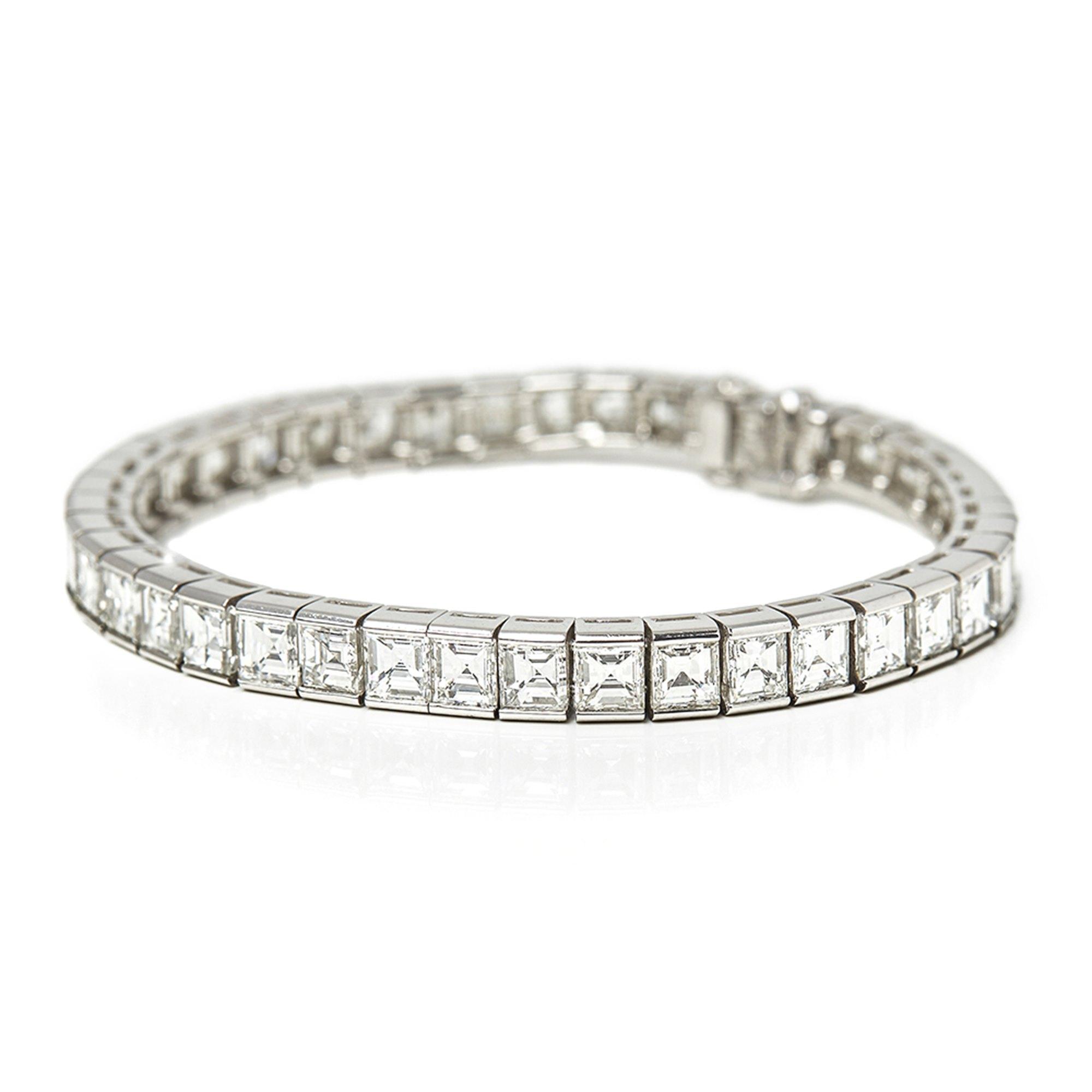 Cartier Platinum Emerald Cut Diamond Riviere Tennis Bracelet