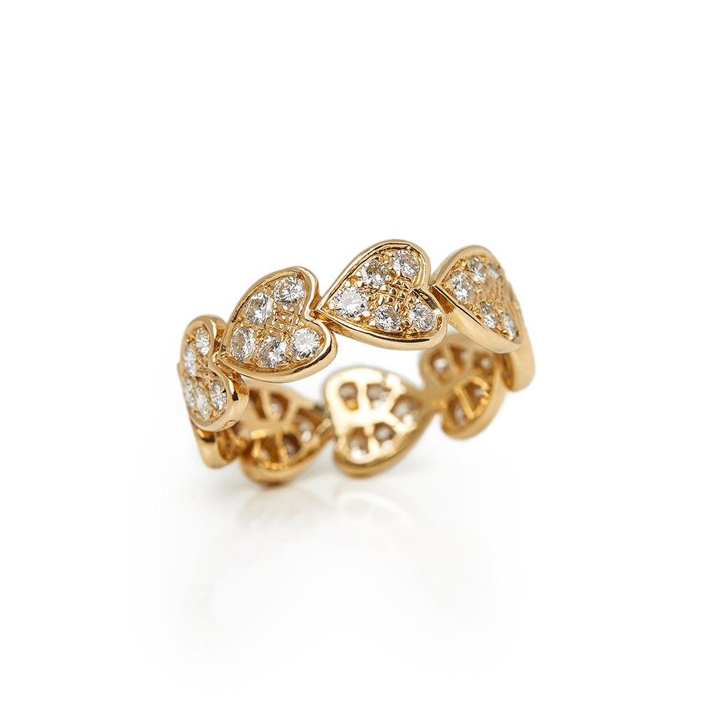 4f4a0adba5291 Cartier 18k Yellow Gold Diamond Heart Design Band Ring COM1324 ...