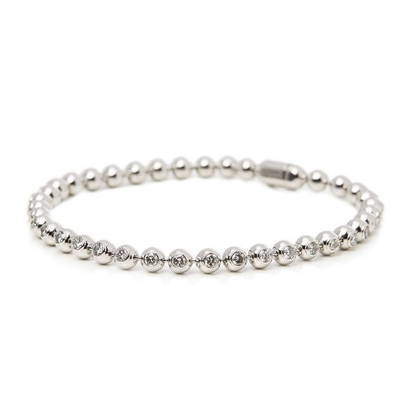 Cartier 18k White Gold Diamond Perles de Diamants Bracelet