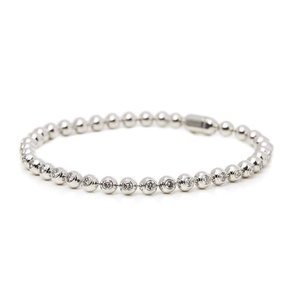 Cartier 18k White Gold Perles de Diamants Bracelet
