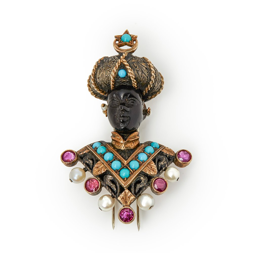 Nardi Moretto Multi-Gemstone Vintage Blackamoor Brooch