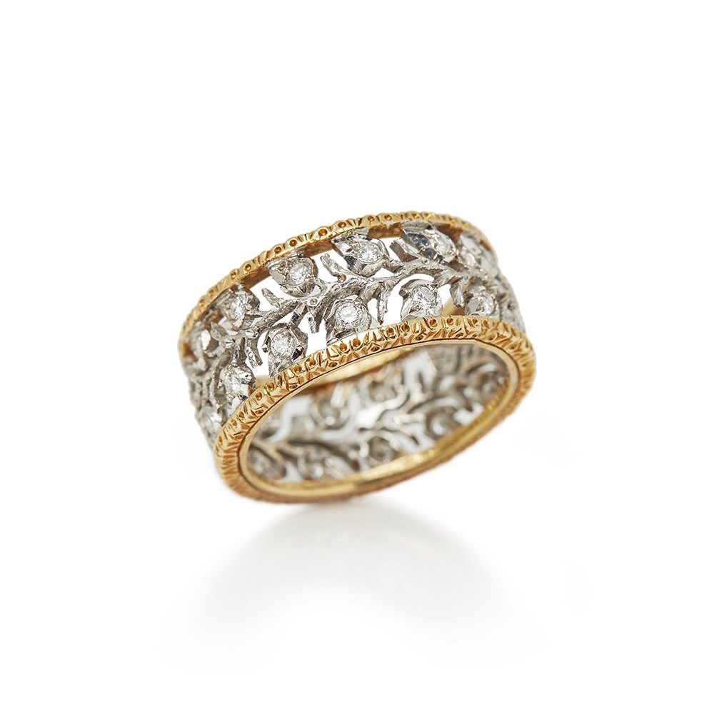 Buccellati 18k White & Yellow Gold Diamond Ramage Eternelle Ring