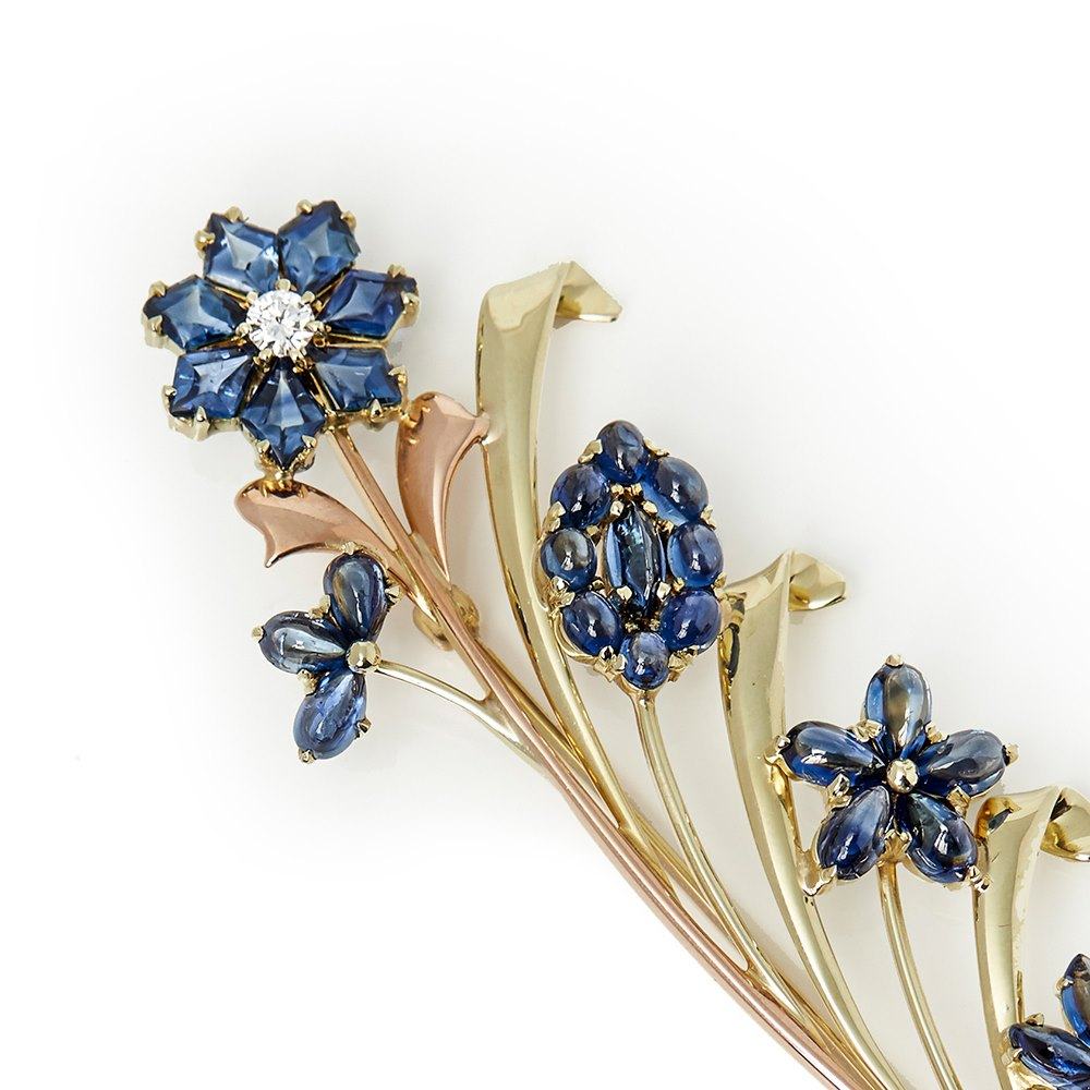 product co gold jewellery details sapphire diamond and yellow rose brooch tiffany retro