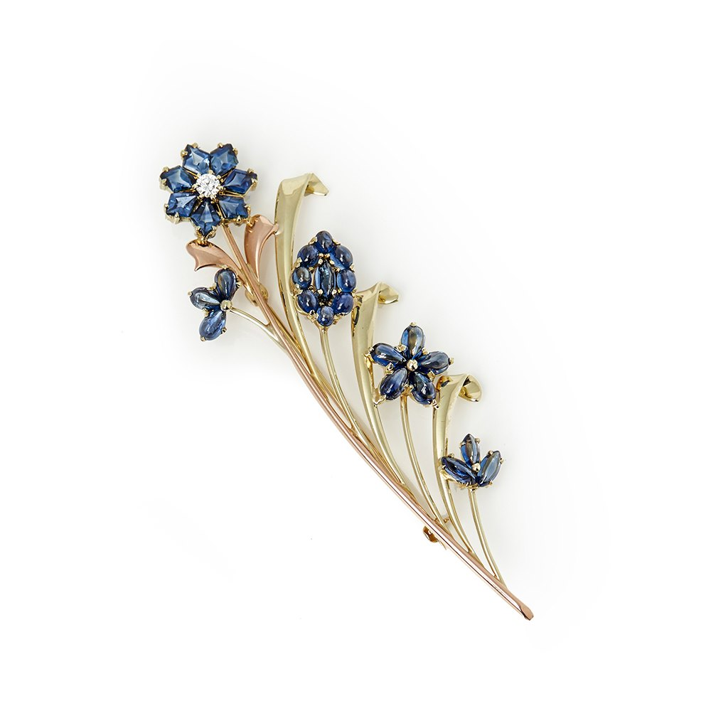 Tiffany & Co. 14k Yellow & Rose Gold Sapphire & Diamond Retro Brooch