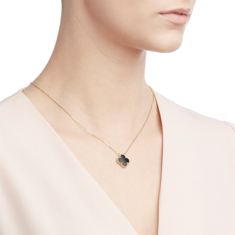 Van Cleef & Arpels 18k Yellow Gold Onyx Alhambra Necklace