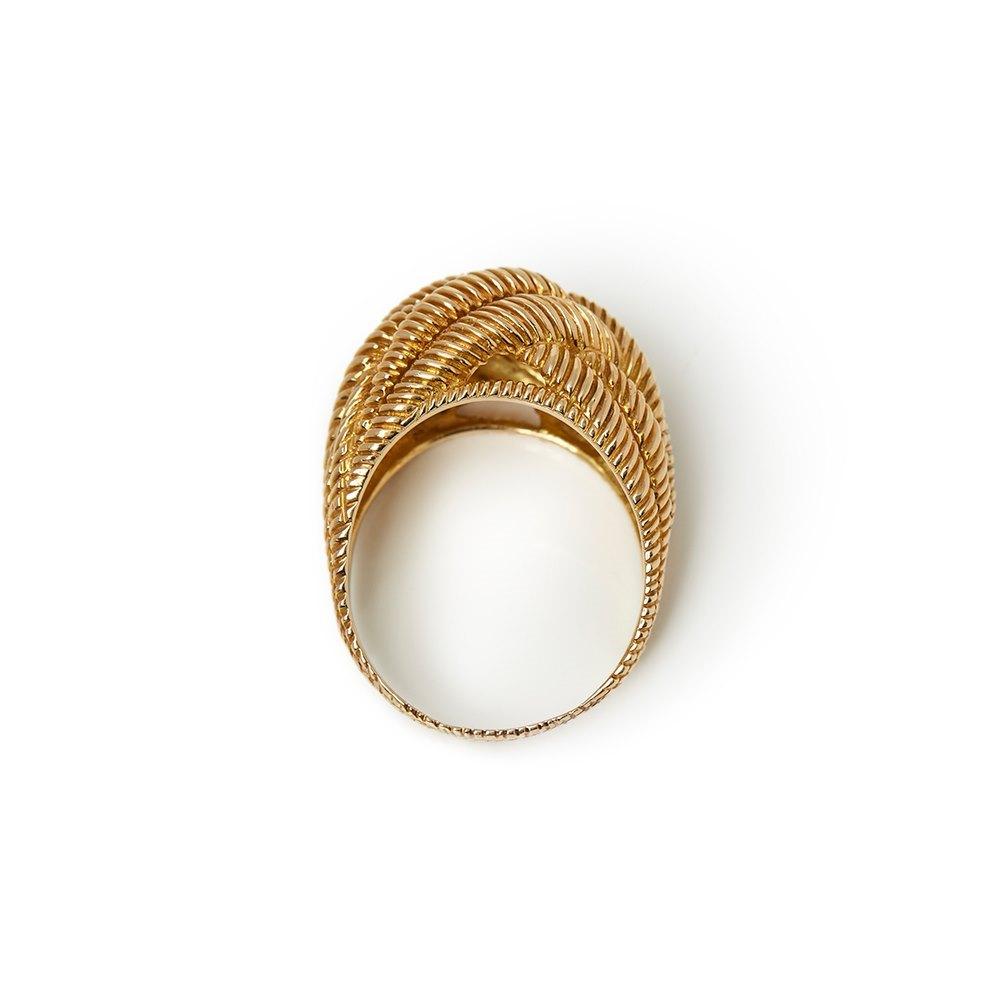 Van Cleef & Arpels 18k Yellow Gold Rope Twist Bombé Ring
