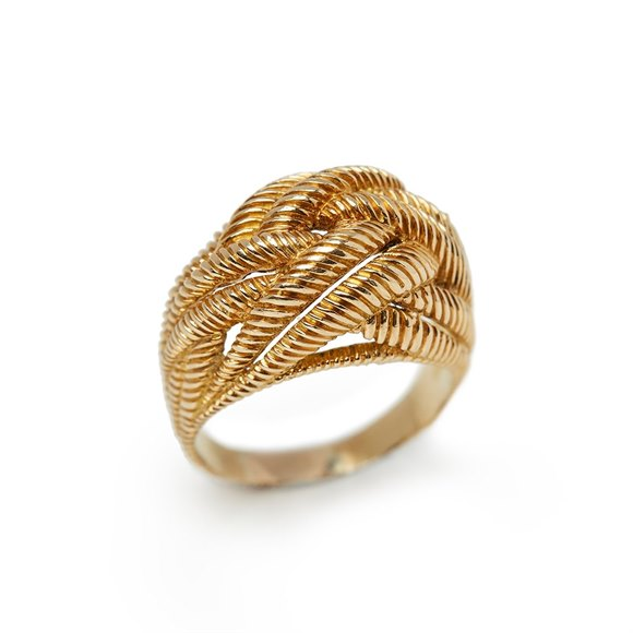 Van Cleef & Arpels 18k Yellow Gold Rope Twist Bombé Ring