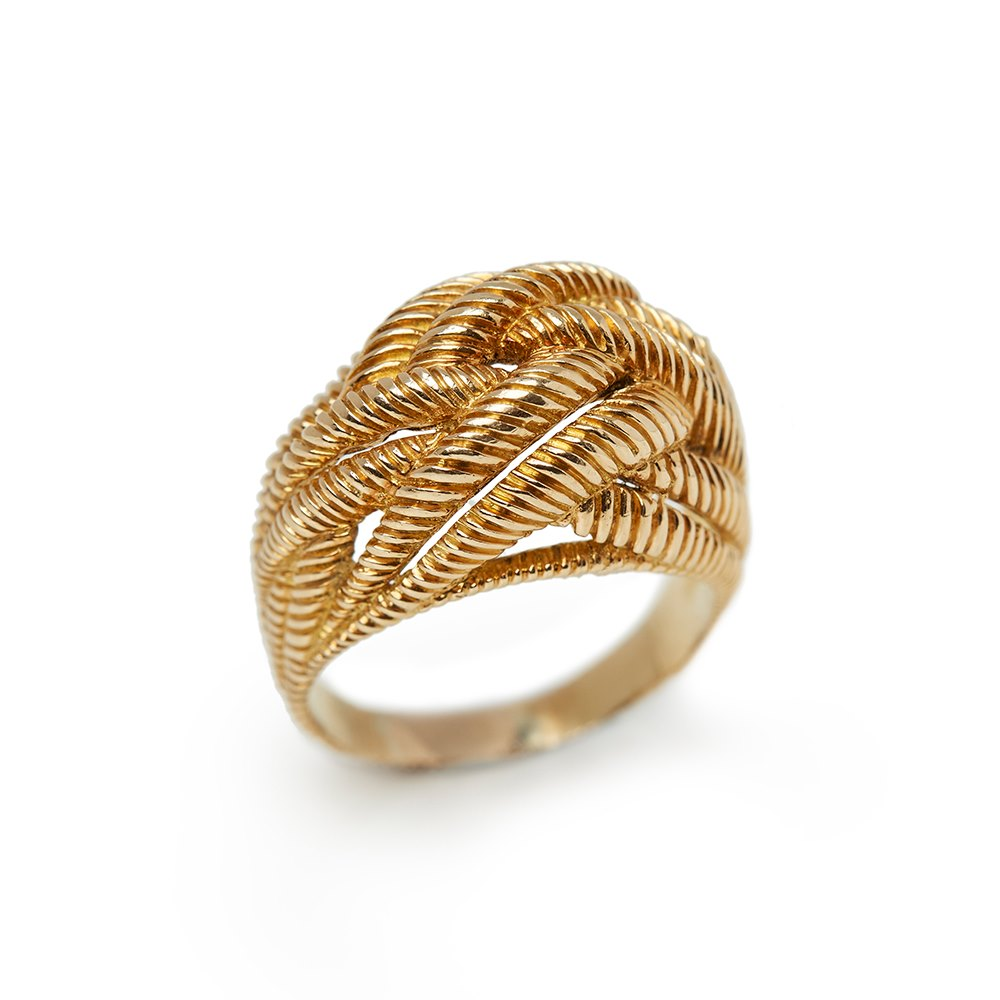 Van Cleef & Arpels 18k Yellow Gold Rope Twist Design Bombe Ring