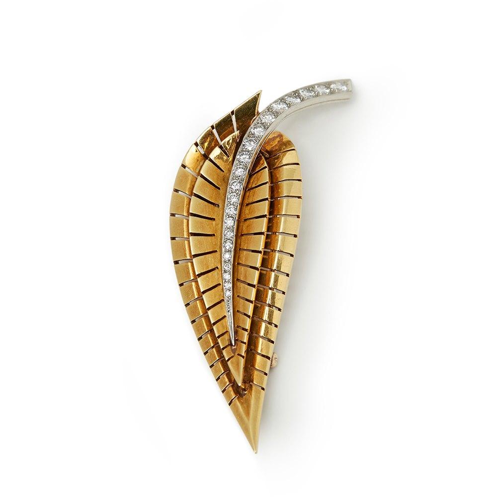 Van Cleef & Arpels 18k Yellow Gold Diamond Vintage Brooch Large