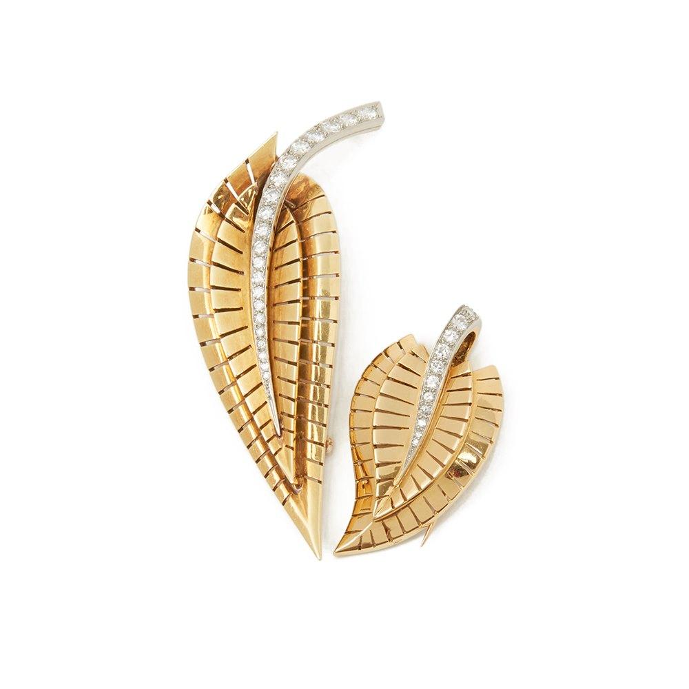 Van Cleef & Arpels 18k Yellow Gold Diamond Vintage Brooches