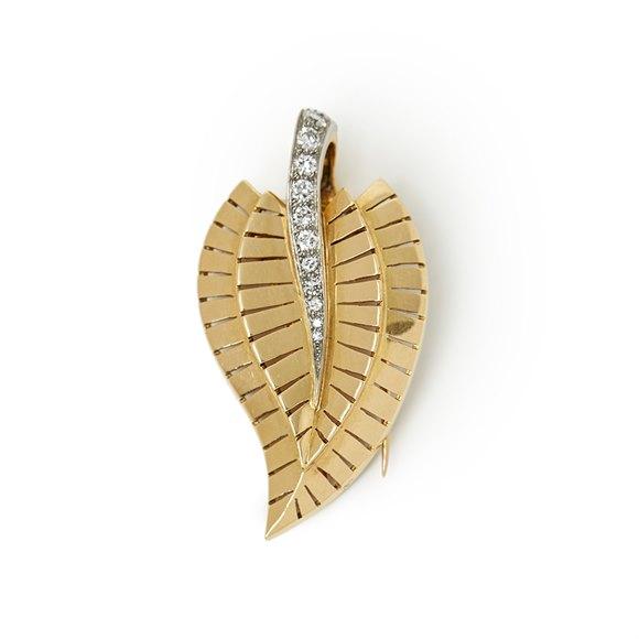 Van Cleef & Arpels 18k Yellow Gold Diamond Vintage Brooch Small