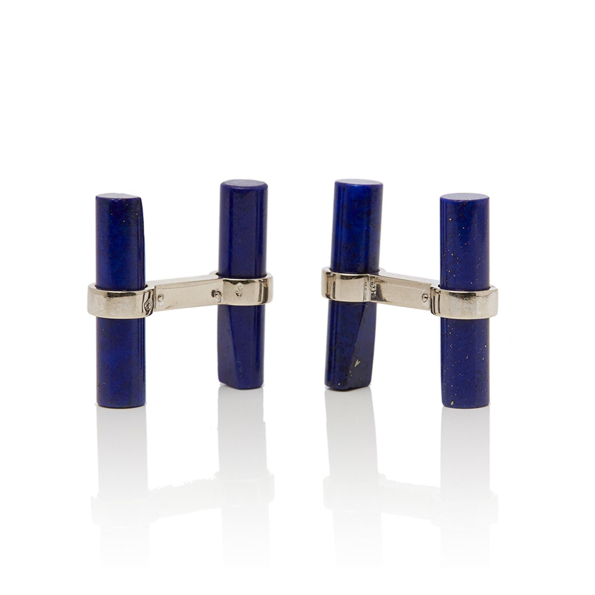 Cartier 18k White Gold Lapis Lazuli Baton Vintage Cufflinks