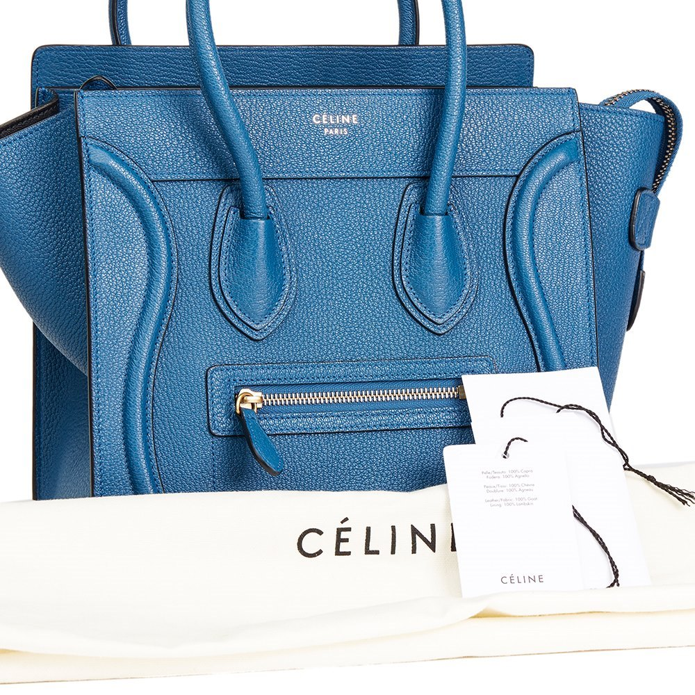 124bc35426 Céline Sea Blue Chevre Goatskin Leather Micro Luggage Tote