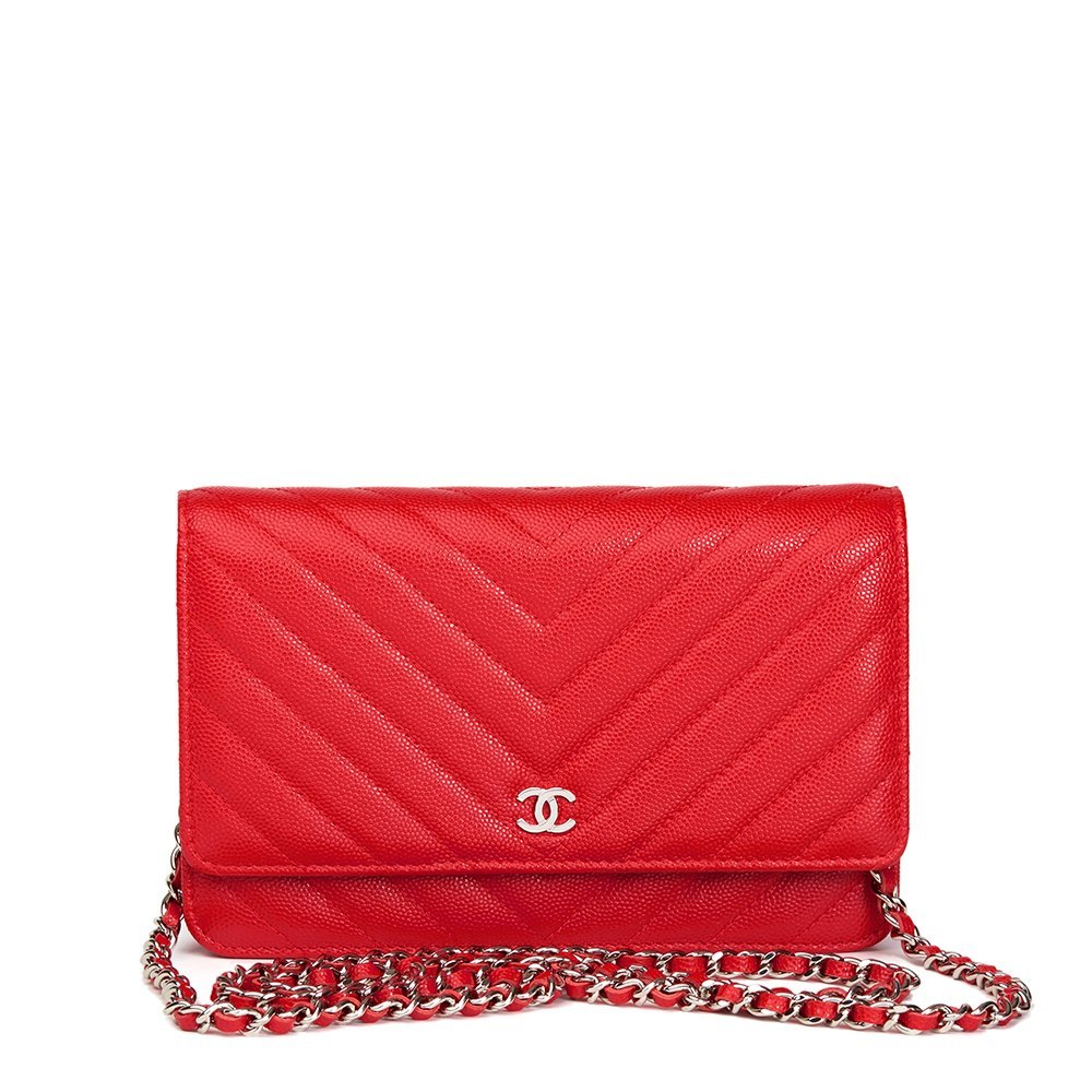 Chanel Red Chevron Quilted Caviar Leather Wallet On Chain Woc