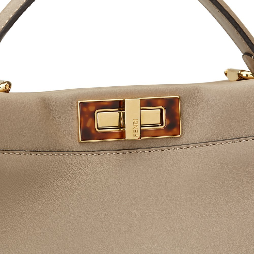f11d87482a Fendi Dove Grey Calfskin Leather Regular Peekaboo