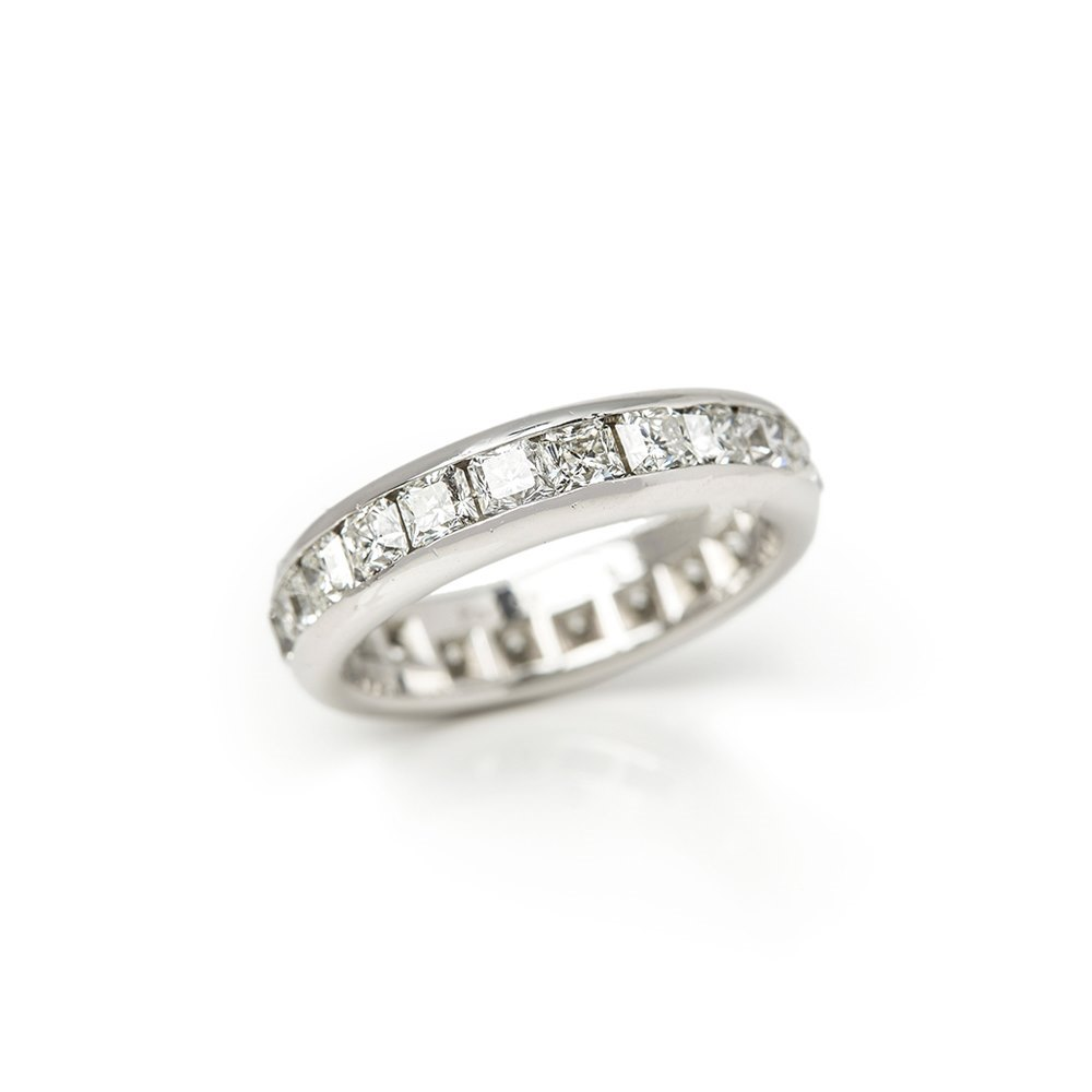 d241d73bc Tiffany & Co. Platinum Full Diamond Eternity Lucida Ring COM1337 ...